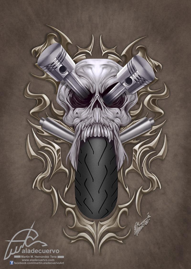 Raiders v2 skull-piston