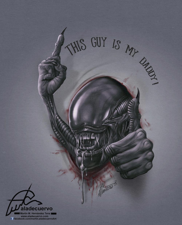 Feliz día del Padre con un fanart del Alien de Giger!