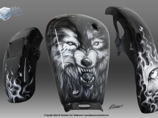 Wolf aerografía para motocicleta