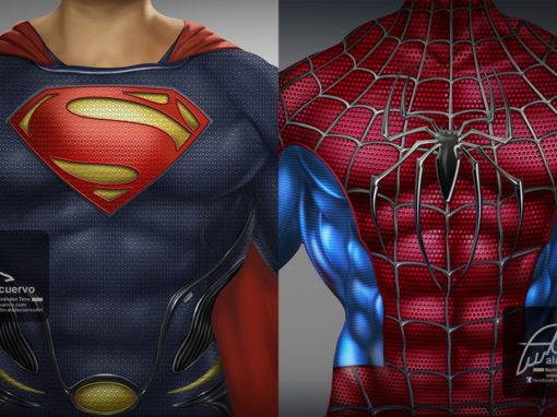Superman y Spiderman torsos