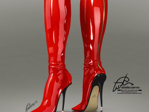 Patent leather red boots