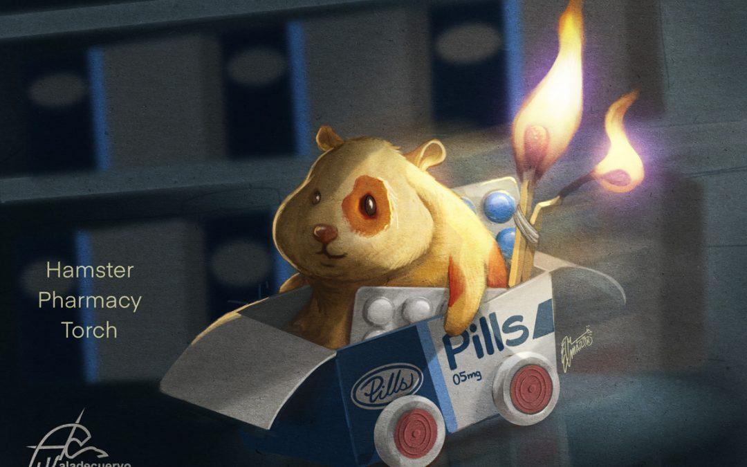 Hamster, pharmacy, torch #artmash Reto semanal